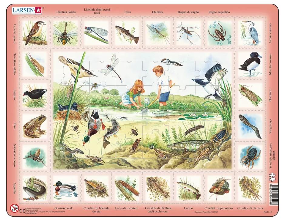 puzzle-cadre-animaux-du-lac-en-italien-