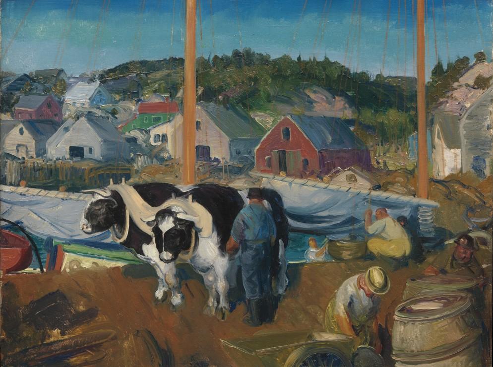 george-bellows-ox-team-wharf-at-matinicus-1916
