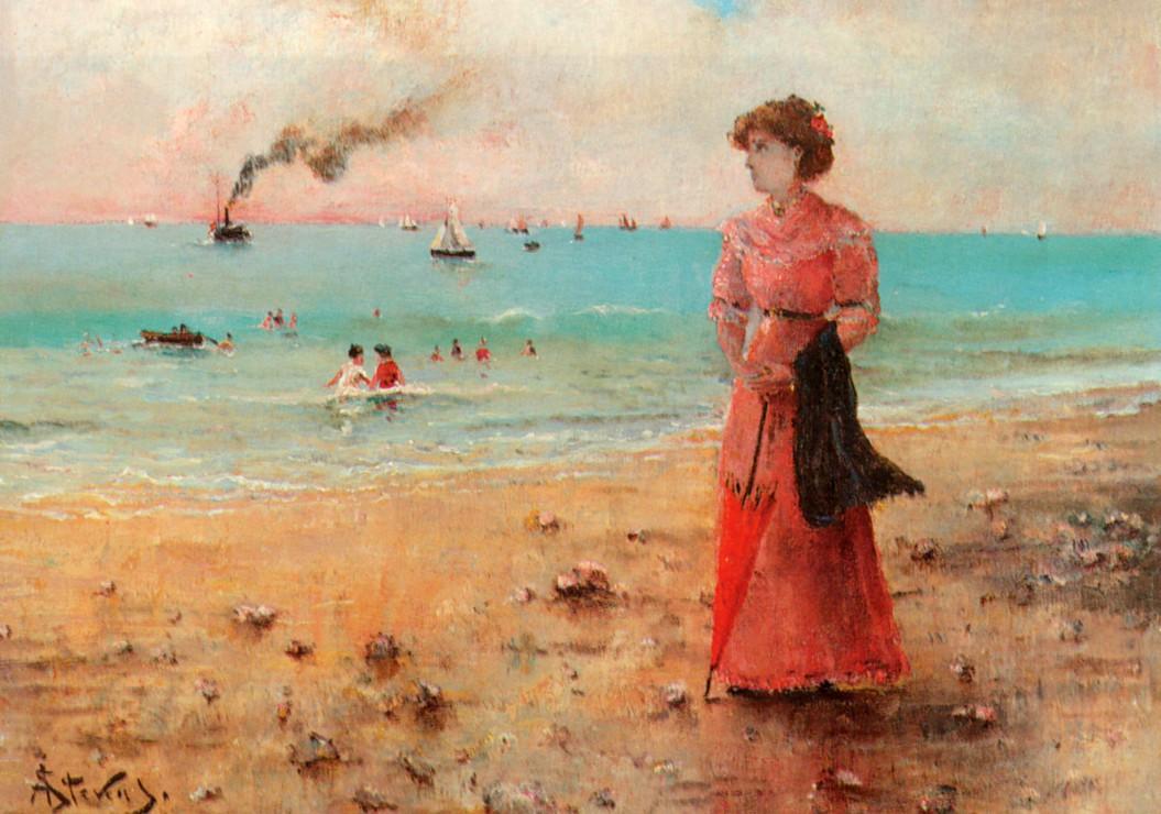 alfred-stevens-jeune-femme-a-l-ombrelle-rouge-au-bord-de-la-mer-1885