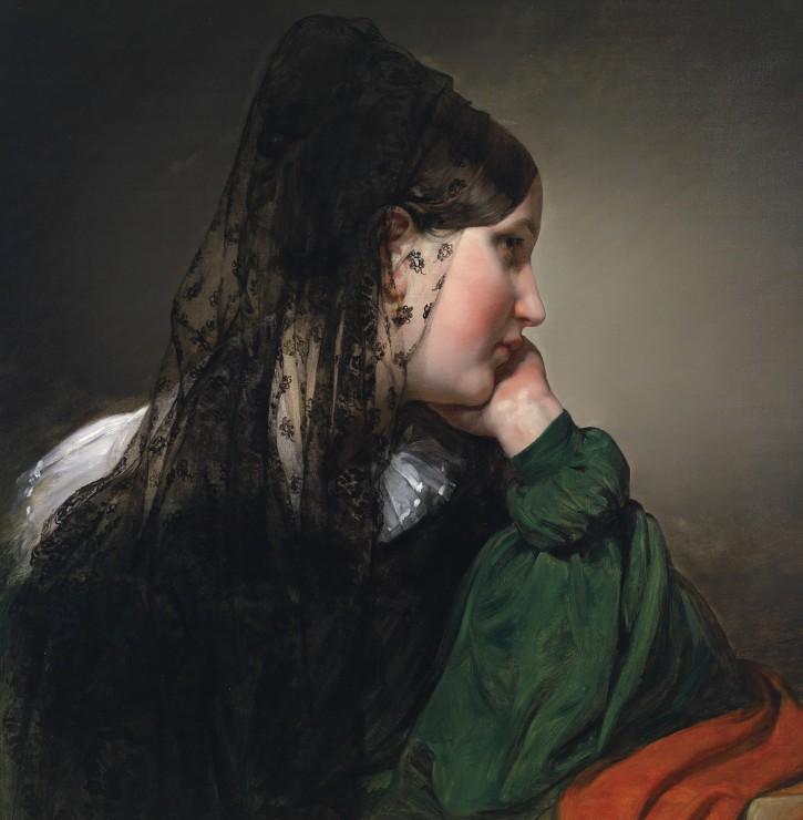 friedrich-von-amerling-jeune-fille-de-profil-avec-une-mantille-noire-1887