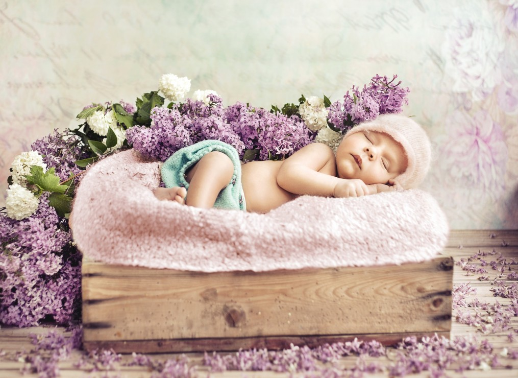 konrad-bak-baby-sleeping-in-the-lilac