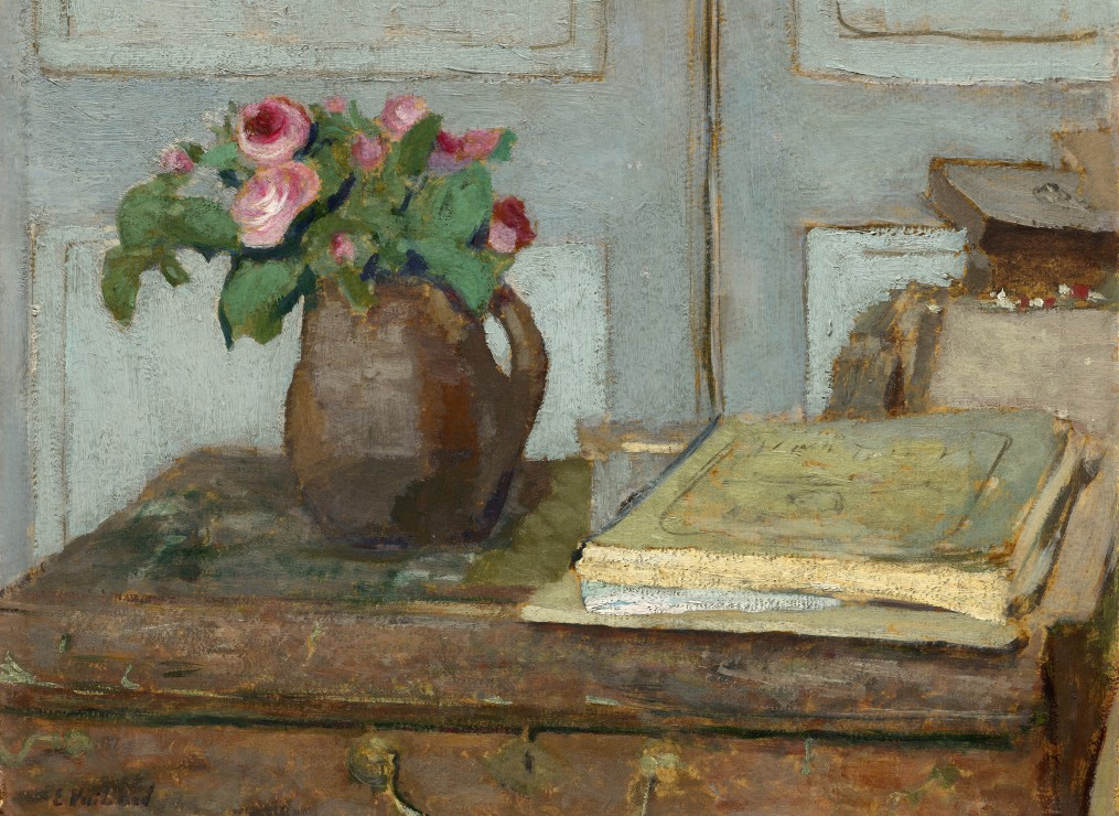 edouard-vuillard-la-palette-de-l-artiste-et-un-vase-avec-des-roses-1898