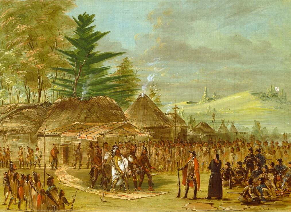 george-catlin-chef-des-indiens-de-taensa-recevant-la-salle-le-20-mars-1682-1847-1848