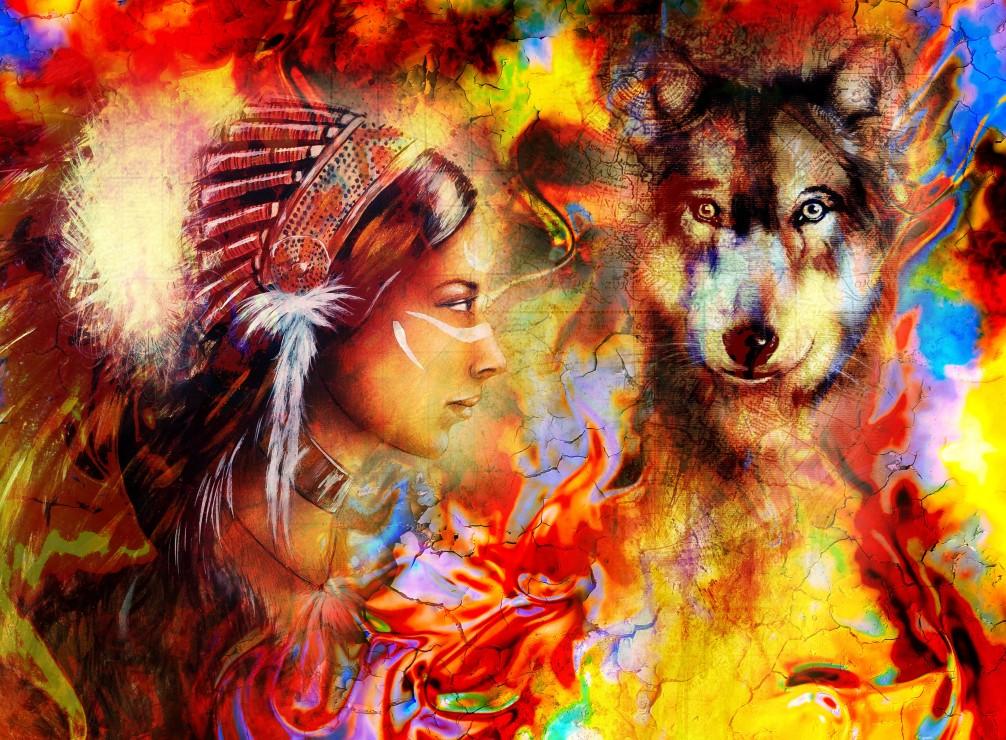 la-femme-indienne-et-le-loup