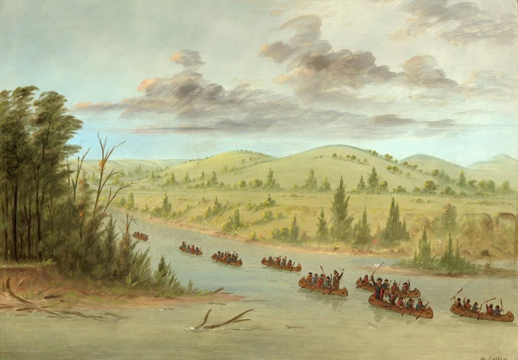 george-catlin-l-expedition-de-la-salle-en-entrant-dans-le-mississippi-a-canoes-le-6-fevrier-1682
