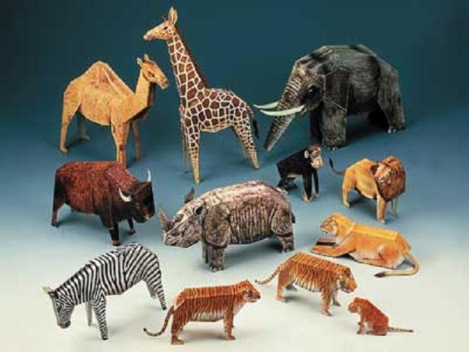 maquette-en-carton-douze-animaux-de-zoo, 8.90 EUR @ go