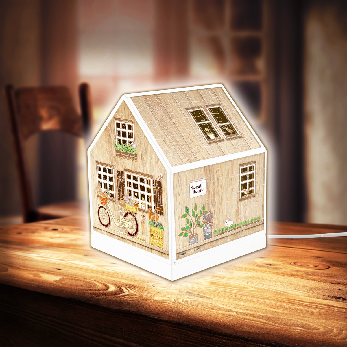 puzzle-3d-house-lantern-little-wooden-cabin