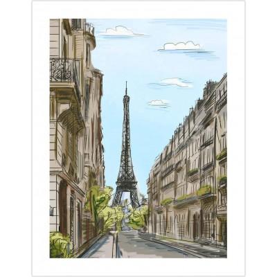 Pintoo-H1524 Puzzle en Plastique - Street in Paris, France
