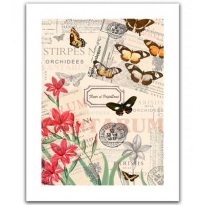 Pintoo-H1585 Puzzle en Plastique - Buttlerfly & Flower