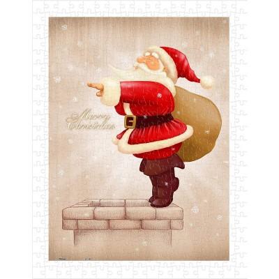 Pintoo-H1608 Puzzle en Plastique - Santa Claus Dive in The Fireplace
