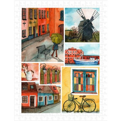 Pintoo-H1688 Puzzle en Plastique - Beautiful Collage of Tranquil Streets
