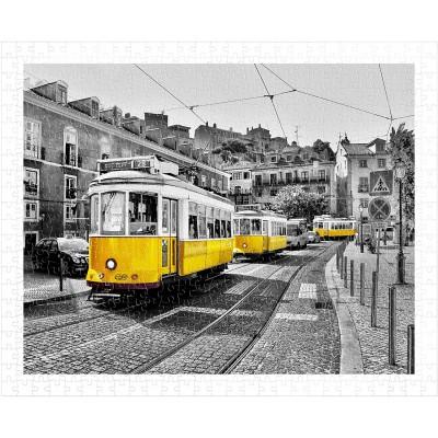 Pintoo-H1767 Puzzle en Plastique - Yellow Trams in Lisbon