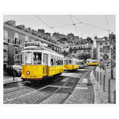 Pintoo-H1768 Puzzle en Plastique - Yellow Trams in Lisbon