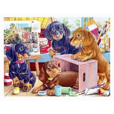 Pintoo-H2087 Puzzle en Plastique - Puppies in the Studio