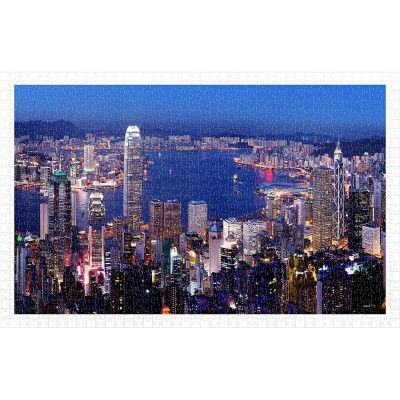Pintoo-H2089 Aerial view of Hong Kong Victoria Harbor at night