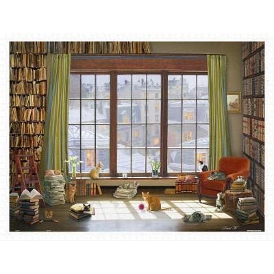 Pintoo-H2134 Puzzle en Plastique - David Maclean - Window Cats