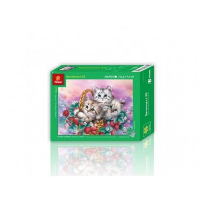 Pintoo-P1119 Puzzle en Plastique - Panier de Fraises pour Chats