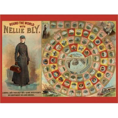 Pomegranate-AA741 Tour du Monde avec Nellie Bly - Puzzle 300 pièces + Jeu de société (anglais)