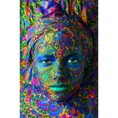 Grafika-Wood-00002 Puzzle en Bois - Face Art : Portrait de Femme