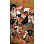 Puzzle-Michele-Wilson-A177-150 Puzzle en Bois - Art Japonais : Coqs et Poules
