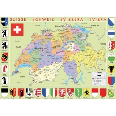 Puzzle-Michele-Wilson-K77-50 Puzzle en Bois découpé à la Main - Carte de la Suisse
