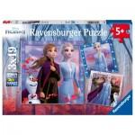 Ravensburger-05011 3 Puzzles - La Reine des Neiges II