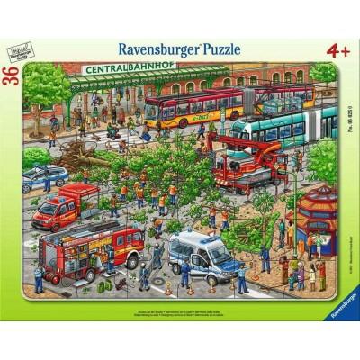 Ravensburger-05026 Puzzle Cadre - Intervention des Pompiers