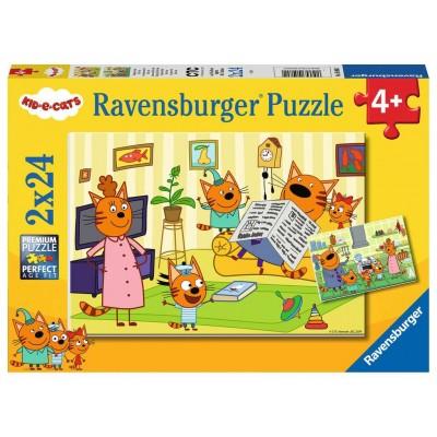 Ravensburger-05080 2 Puzzles - Kid e Cats