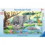 Ravensburger-06136 Puzzle Cadre - Animaux d'Afrique