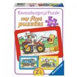 Ravensburger-06573 3 Puzzles - My First Puzzle - Tracteur, Pelleteuse, Camion Benne