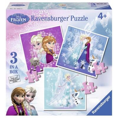 Ravensburger-07003 3 Puzzles - La Reine des Neiges