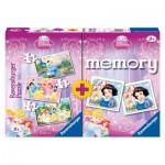 Ravensburger-07228 3 Puzzles + Memory Princesses