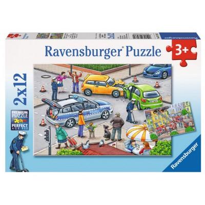 Ravensburger-07578 2 Puzzles - Accident de Voiture et Incendie