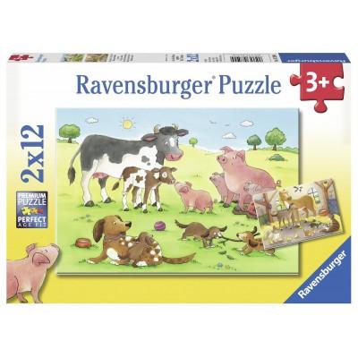 Ravensburger-07590 2 Puzzles - Familles d'Animaux de la ferme