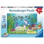 Ravensburger-07625 2 Puzzles - Fonds Marins