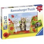 Ravensburger-07626 2 Puzzles - Chatons