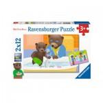 Ravensburger-07628 2 Puzzles - Petit Ours Brun