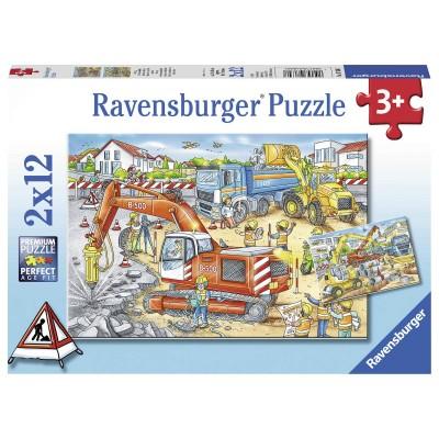 Ravensburger-07630 2 Puzzles - Site de Construction