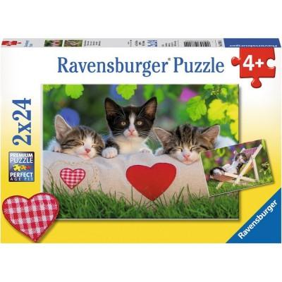 Ravensburger-07801 2 Puzzles - Sieste des Chatons