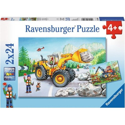 Ravensburger-07802 2 Puzzles - Tractopelle et Tracteur Forestier