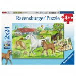 Ravensburger-07833 2 Puzzles - Chevaux