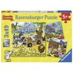 Ravensburger-08042 3 Puzzles - Mauseschlau et Bärenstark