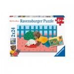 Ravensburger-09186 2 Puzzles - Petit Ours Brun