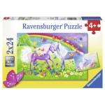 Ravensburger-09193 2 Puzzles - Chevaux Arc en Ciel