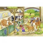 Ravensburger-09195 2 Puzzles - Journée à la Ferme