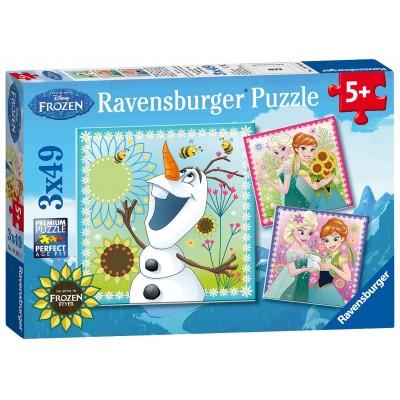 Ravensburger-09245 3 Puzzles - La Reine des Neiges