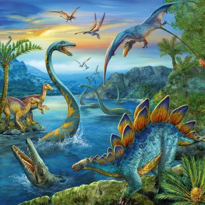Ravensburger-09317 3 Puzzles - Fascination des Dinosaures