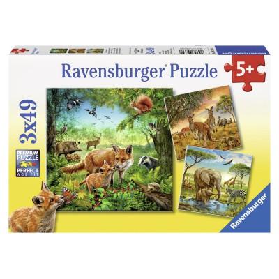 Ravensburger-09330 3 Puzzles - Animaux du Monde