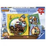 Ravensburger-09409 3 Puzzles - Wickie le Petit Viking