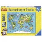 Ravensburger-10595 Pièces XXL - Carte du Monde en Allemand
